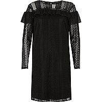 Black chiffon frill lace dress