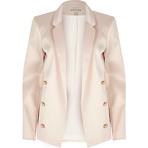 Light pink satin blazer