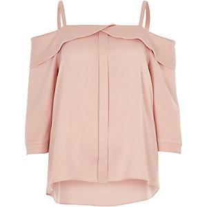 Blush pink placket cold shoulder top