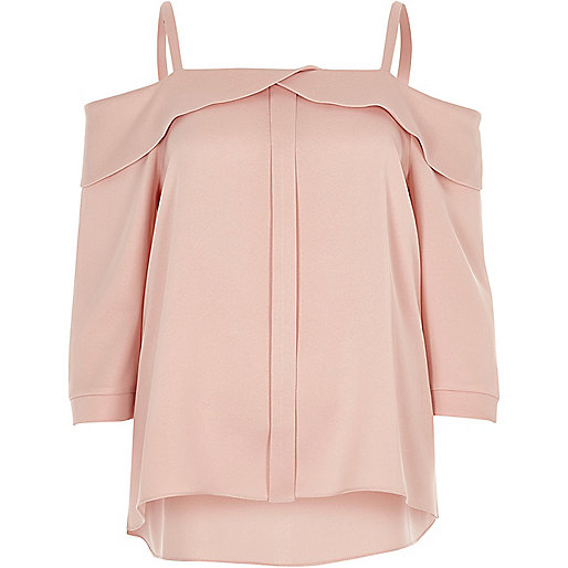 Blush pink placket cold shoulder top