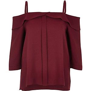 Dark red placket cold shoulder top