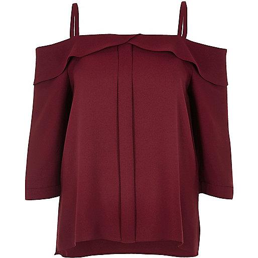 Dark red placket bardot top