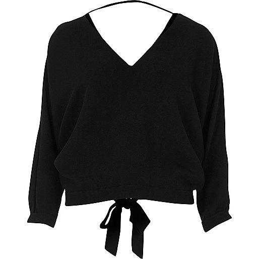 Black tied back V-neck top