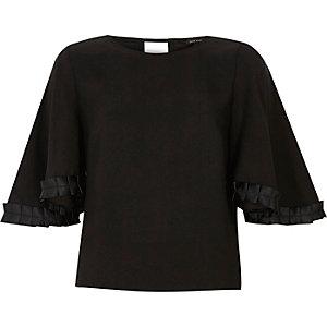 Black grosgrain sleeve top