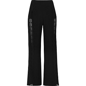 Black lace insert wide leg trousers