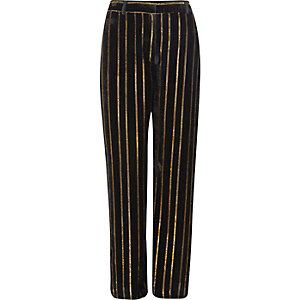 Black metallic stripe wide leg trousers