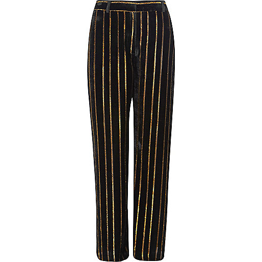 Black metallic stripe wide leg trousers