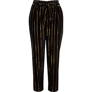 Black metallic stripe tied tapered trousers