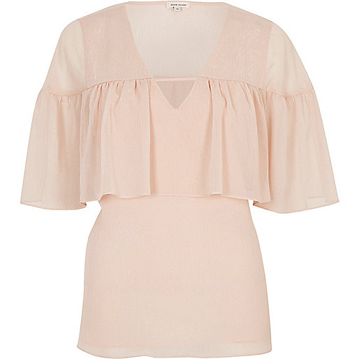 Blush pink frill cape top