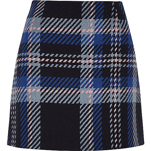 Mini-jupe à carreaux bleus
