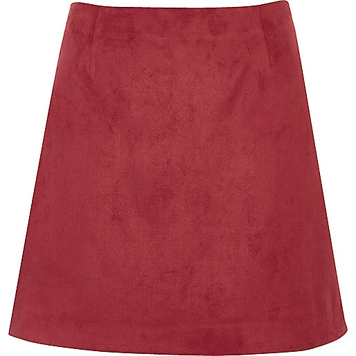 Red faux suede mini skirt
