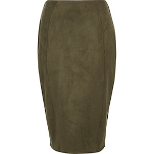 Khaki green faux suede panel pencil skirt