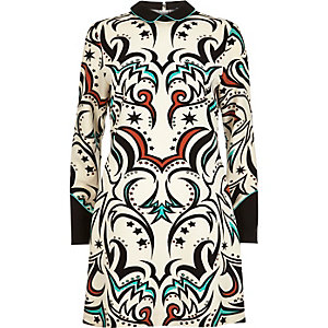 Cream western print shift dress