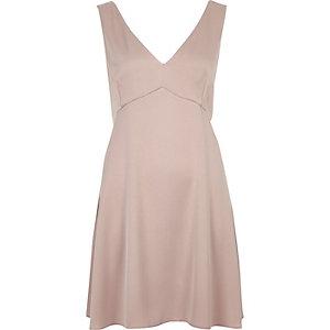 Blush pink satin plunge mini dress