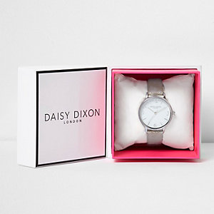 Daisy Dixon metallic grey strap watch