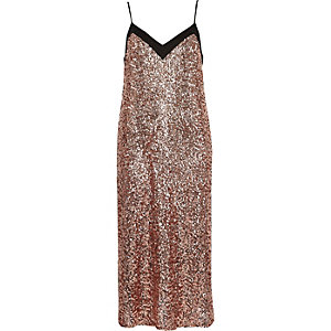 Pink sequin midi slip dress