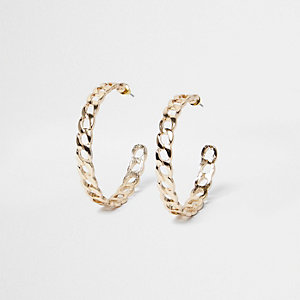 Gold tone chain link hoop earrings