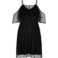 Black dotted mesh cold shoulder dress
