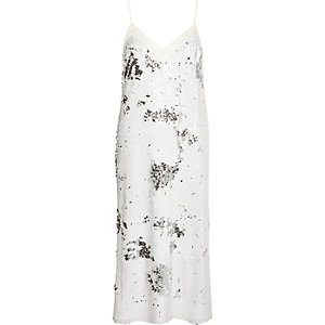 White sequin midi slip dress