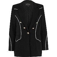 Black contrast piped blazer