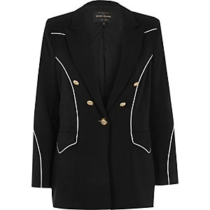 Black contrast piped blazer