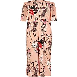 Plus pink print bardot jumpsuit