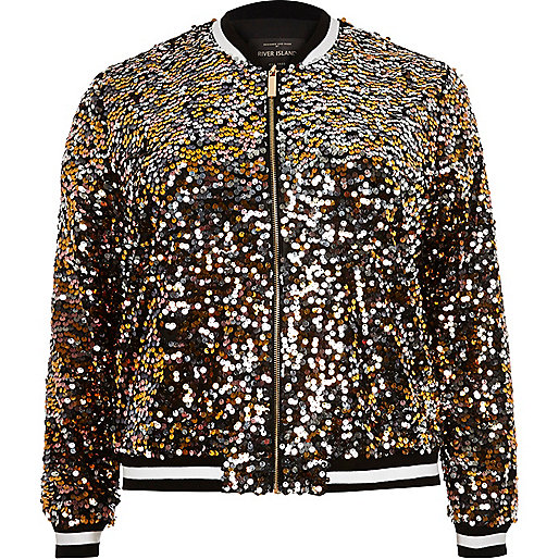 Plus gold sequin bomber jacket