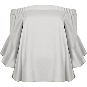 Light grey bardot flared sleeve top