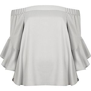 Light grey bardot flared sleeve top