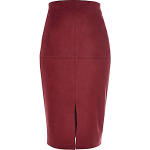 Red faux suede pencil skirt