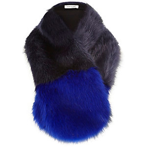 Blue colour block faux fur tippet