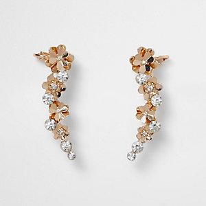 Gold tone flower detail ear cuffs
