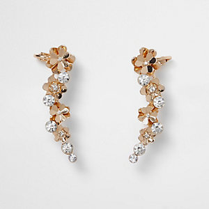 Gold tone flower detail ear cuffs