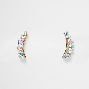 Gold tone leaf gem ear cuffs