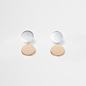 Silver and rose gold tone disc earrings