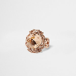 Rose gold tone large gem ring