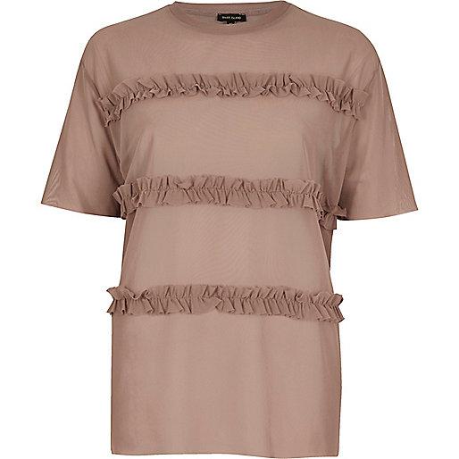 T-shirt rose à volants effet superposé