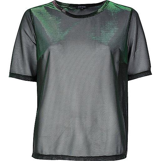 Grünes T-Shirt mit Metallic-Mesh-Einsatz