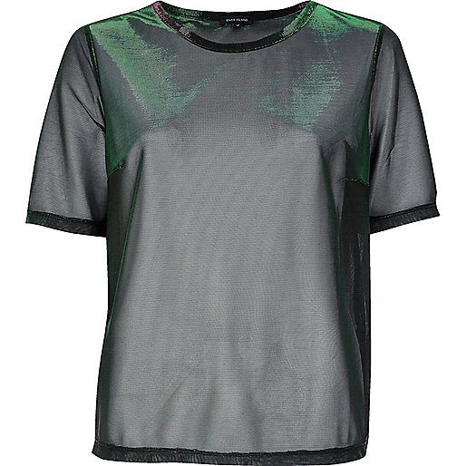 Green reflective metallic mesh T-shirt