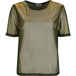 Gold metallic mesh T-shirt