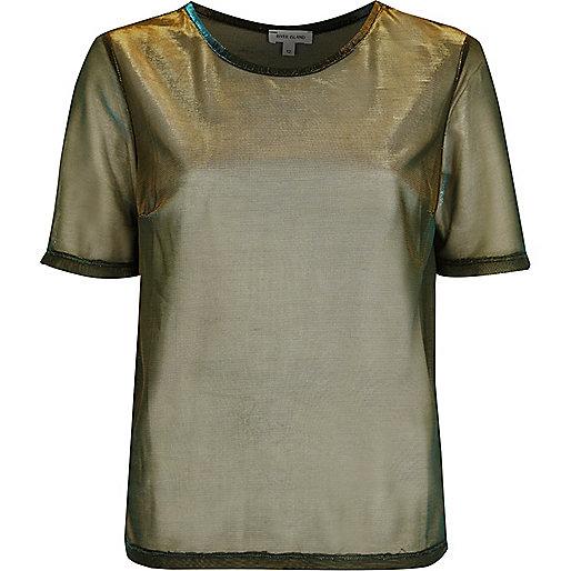 T-Shirt in Gold-Metallic