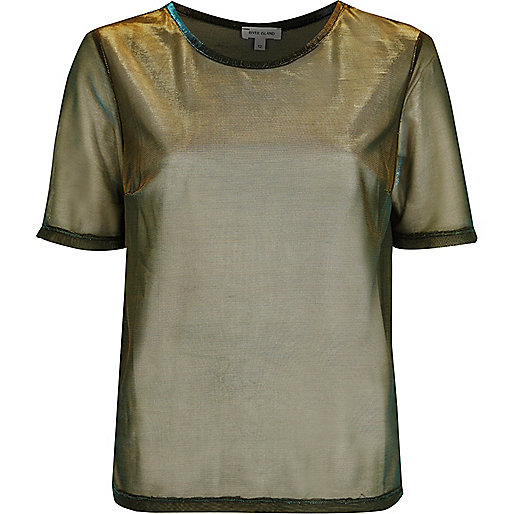 Gold metallic mesh T-shirt