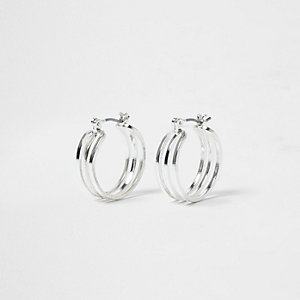 Silver tone three row mini hoop earrings