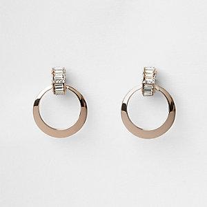 Rose gold tone baguette circle earrings