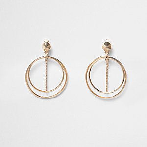 Gold tone double hoop chain earrings