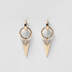 Gold tone arrow drop earrings