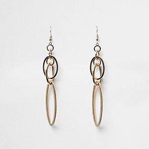 Gold tone interlocking drop earrings