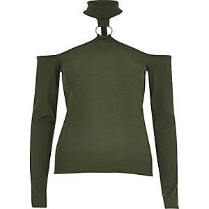 Khaki green choker ring bardot top