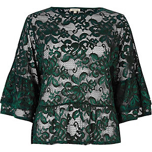 Dark green lace flared top