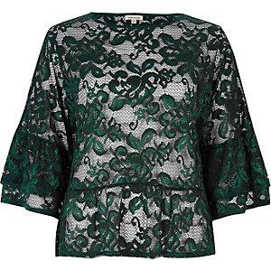 Dark green lace flared top